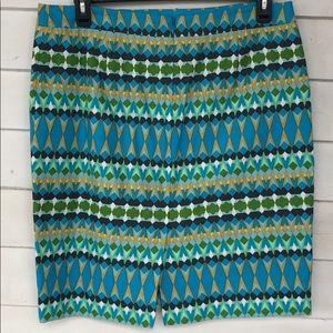 J. Crew Skirts - J crew pencil skirt blue striped 14 knee length